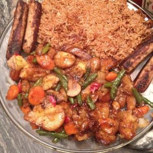 Chinese Fried Rice Veggies & Beef Kabob
