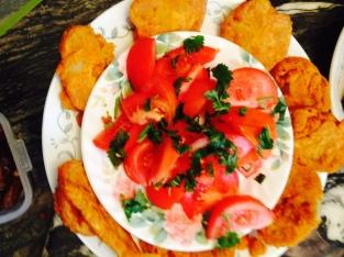 Pakoras / Bajeeyas (Gram Fritters) & Tomato Cilantro Salad